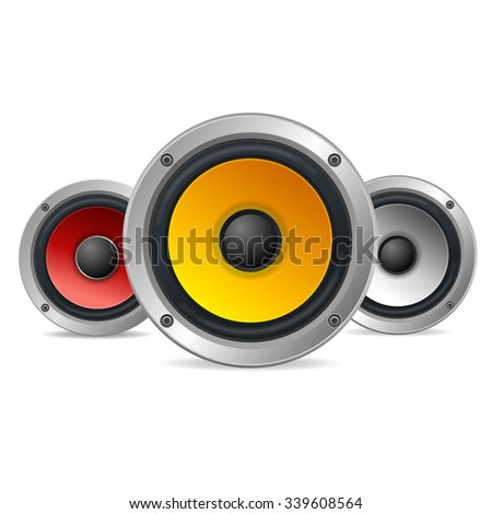 Audio Speakers Treble Isolated on White Background. illustration - stock photo