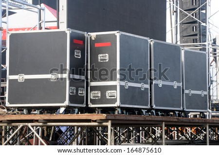 audio stage amplifiers, speakers and equipment - stock photo