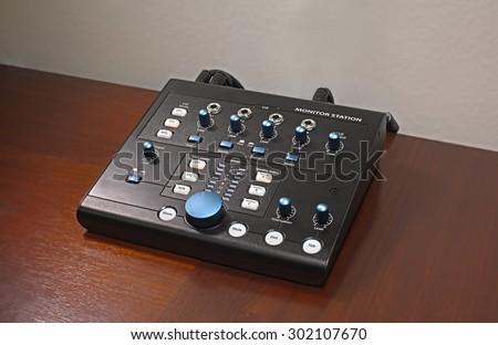 Audio Studio Monitor Station - stock photo