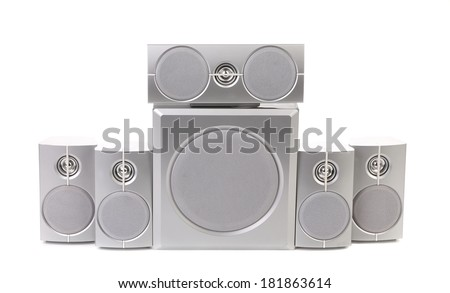 Audio surround system. Isolated on a white background. - stock photo