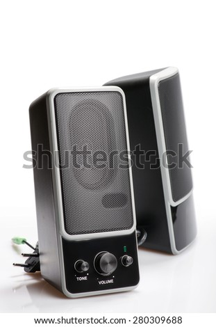 Audio system for mobile phones, computer and laptops with amplifier. - stock photo