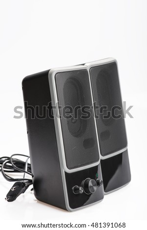 Audio system for mobile phones, computer and laptops with amplifier.