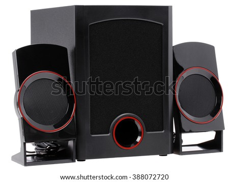 audio system. two speakers and a subwoofer on a white background. isolate - stock photo