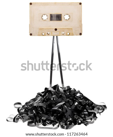 Audio tape cassette with subtracted out tape - stock photo