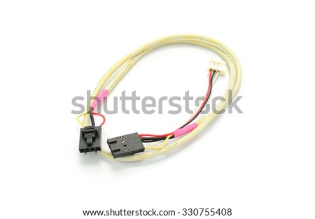 audio video analog cable isolated on white background - stock photo