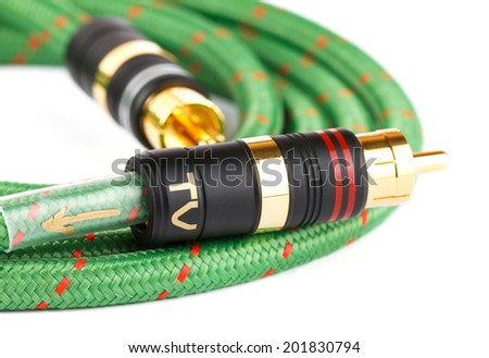 Audio video cable on white background - stock photo
