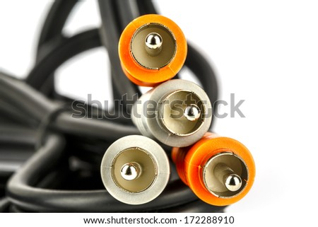 Audio video RCA cable and its plugs  - stock photo