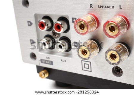 Audio-Video Receiver and Amplifier back panel - stock photo