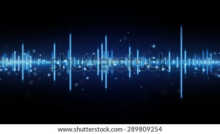 audio waveform blue equalizer. Computer generated abstract background  - stock photo