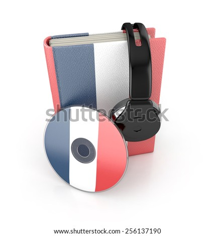 audiobook concept. Learning french language. 3d render - stock photo