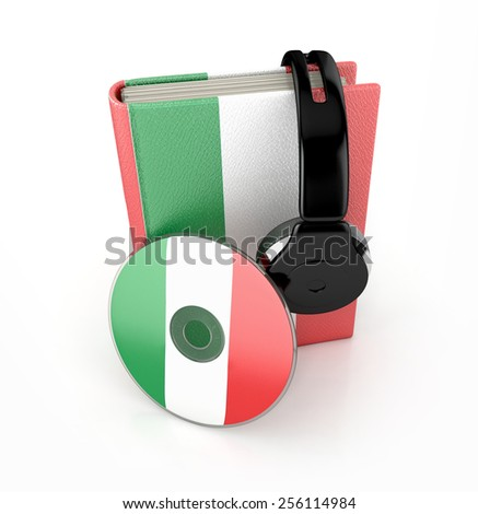 Audiobook Italian language learning concept. Book, cd and headphones 3d render. - stock photo