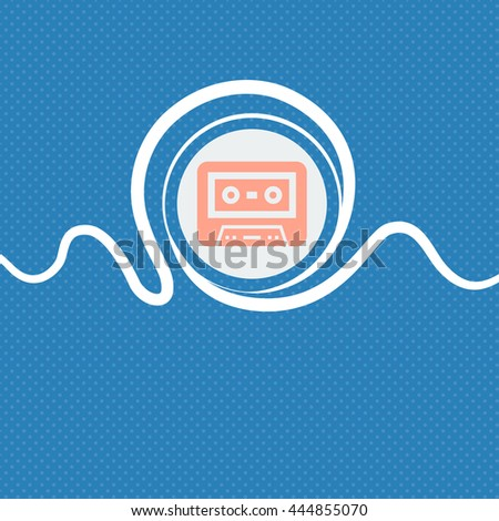 audiocassette icon sign. Blue and white abstract background flecked with space for text and your design. illustration - stock photo