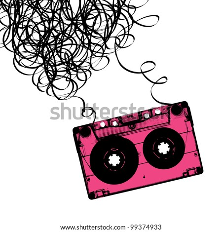 Audiocassette tape with tangled, rasterized version.