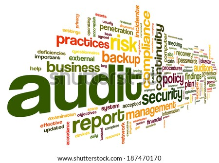 Audit and compliance  in word tag cloud on white - stock photo