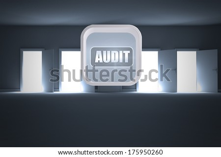 Audit banner on abstract screen against many doors opening revealing light - stock photo