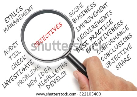 Audit, business conceptual focusing on Objectives - stock photo