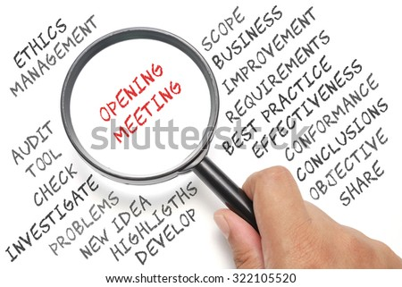 Audit, business conceptual focusing on Opening Meeting - stock photo