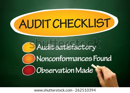 Audit checklist, business concept on blackboard - stock photo