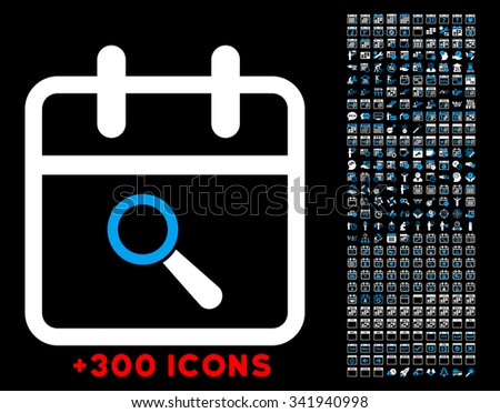 Audit Date glyph icon with additional 300 date and time management pictograms. Style is bicolor flat symbols, blue and white colors, rounded angles, black background. - stock photo