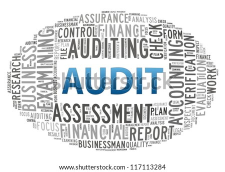 Audit info-text graphics and arrangement concept on white background - stock photo