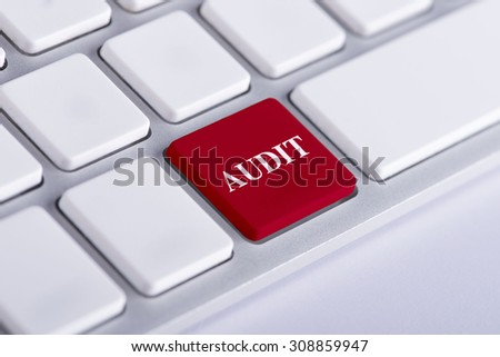 Audit red word on keyboard, business concept