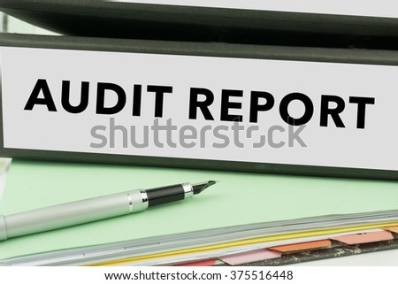 Audit Report - Ring Binder in the office. Management file. Business Concept - stock photo