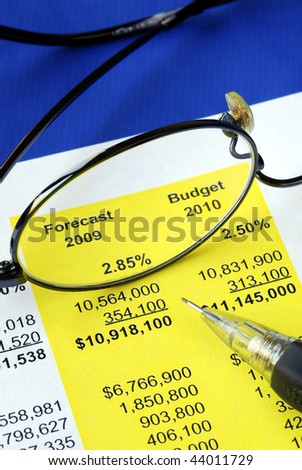 Audit the proposed financial statement for a homeowner association or condo - stock photo