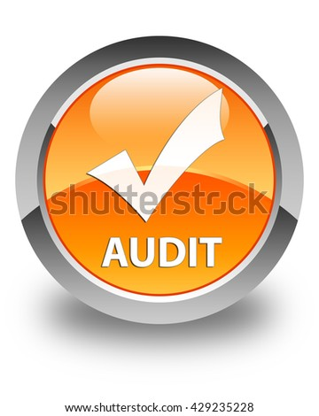 Audit (validate icon) glossy orange round button - stock photo