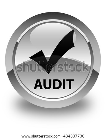 Audit (validate icon) glossy white round button - stock photo