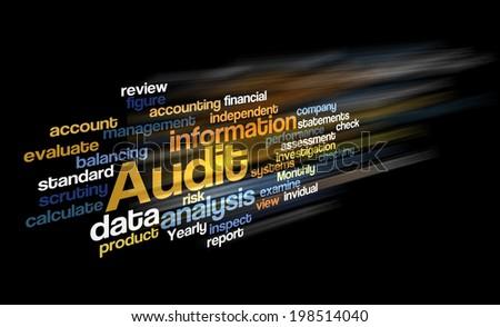 Audit word cloud arrangement over black background - stock photo