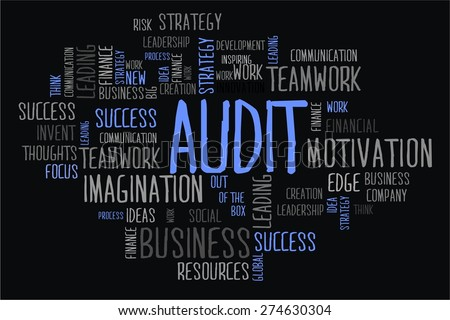 AUDIT word cloud business concept in black background - stock photo