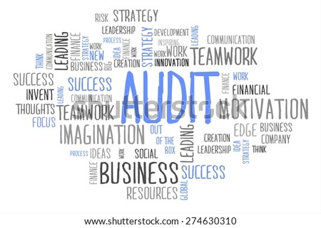 AUDIT word cloud business concept in white background - stock photo