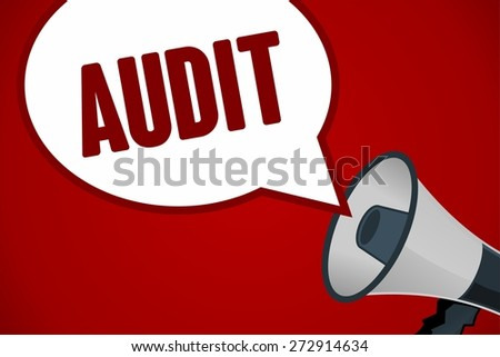 AUDIT word out of megaphone - stock photo