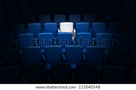 auditorium with one reserved seat - stock photo