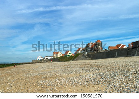 Audresselles seen from the beach early morning, France. - stock photo
