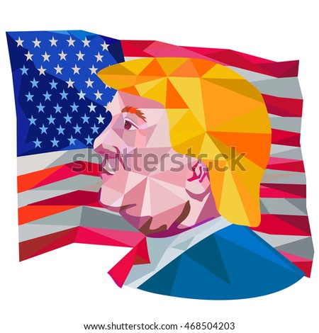 Aug 15, 2016:Illustration showing Republican Party presidential president 2016 candidate Donald John Trump side profile with USA stars and stripes falg done in low polygon art style.