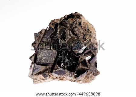 augit silicate mineral pyroxene from the group on the white background