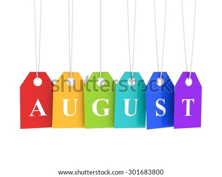 August ag on colored hanging labels - stock photo