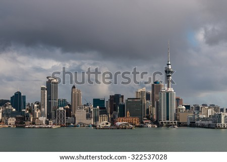 August 8, 2015 - Auckland, New Zealand: panoramic view of Auckland CBD and waterfront