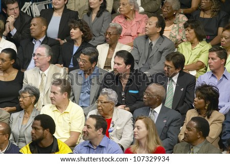AUGUST 2004 - Audience listening to Senator John Kerry at major policy address on the economy, CSU- Dominguez Hills, Los  Angeles, CA