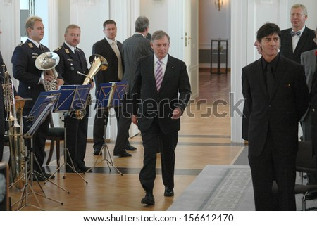 AUGUST 14, 2006 - BERLIN: Horst Koehler, Joachim Loew and others at a reception for the German national soccer team after the world championship, Schloss Bellevue, Berlin. - stock photo
