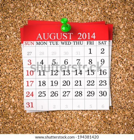 August 2014  Calendar on cork board , 3d render - stock photo