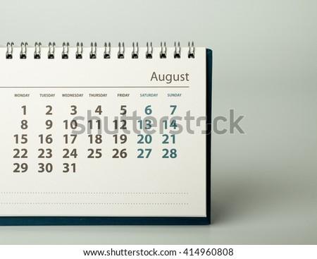 August. Calendar sheet. Calendar of the year two thousand sixteen. - stock photo