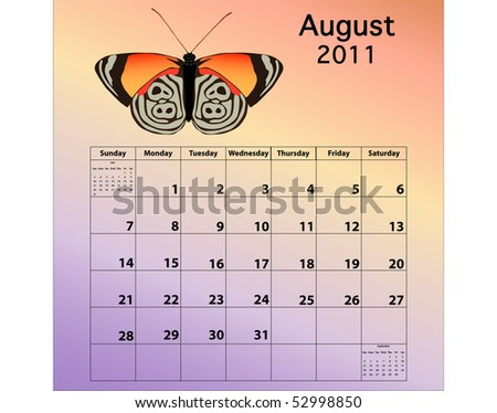 August 2011 calendar with butterfly - stock photo