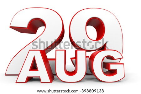 August 29. 3d text on white background. 3D illustration.