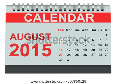 August 2015, desk calendar isolated on white background