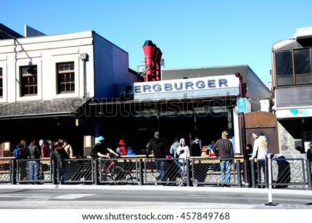 August 12, 2015 : In Queenstown Mall.This is one of the most popular FERGBURGER restaurants  travel destination in New Zealand known for it's restaurants, ski tourism and extreme sport adventure. - stock photo