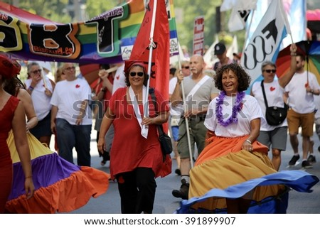 August 18, 2013 - Montreal, Quebec, Canada - Gay Pride Parade moves along Boulevard Rene Levesque.