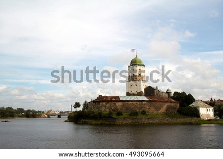 August 5, 2016, Olaf Tower in the center of the castle in Vyborg on a small island in the Gulf of Finland, Russia. Tourist attraction.