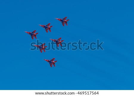 August 6, 2016. Ryazan, Russia. The aircraft of the Military Air forces of Russia perform aerobatics at an Airshow. Documentary Editorial Image.
